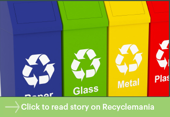 Colorful recycling bins/