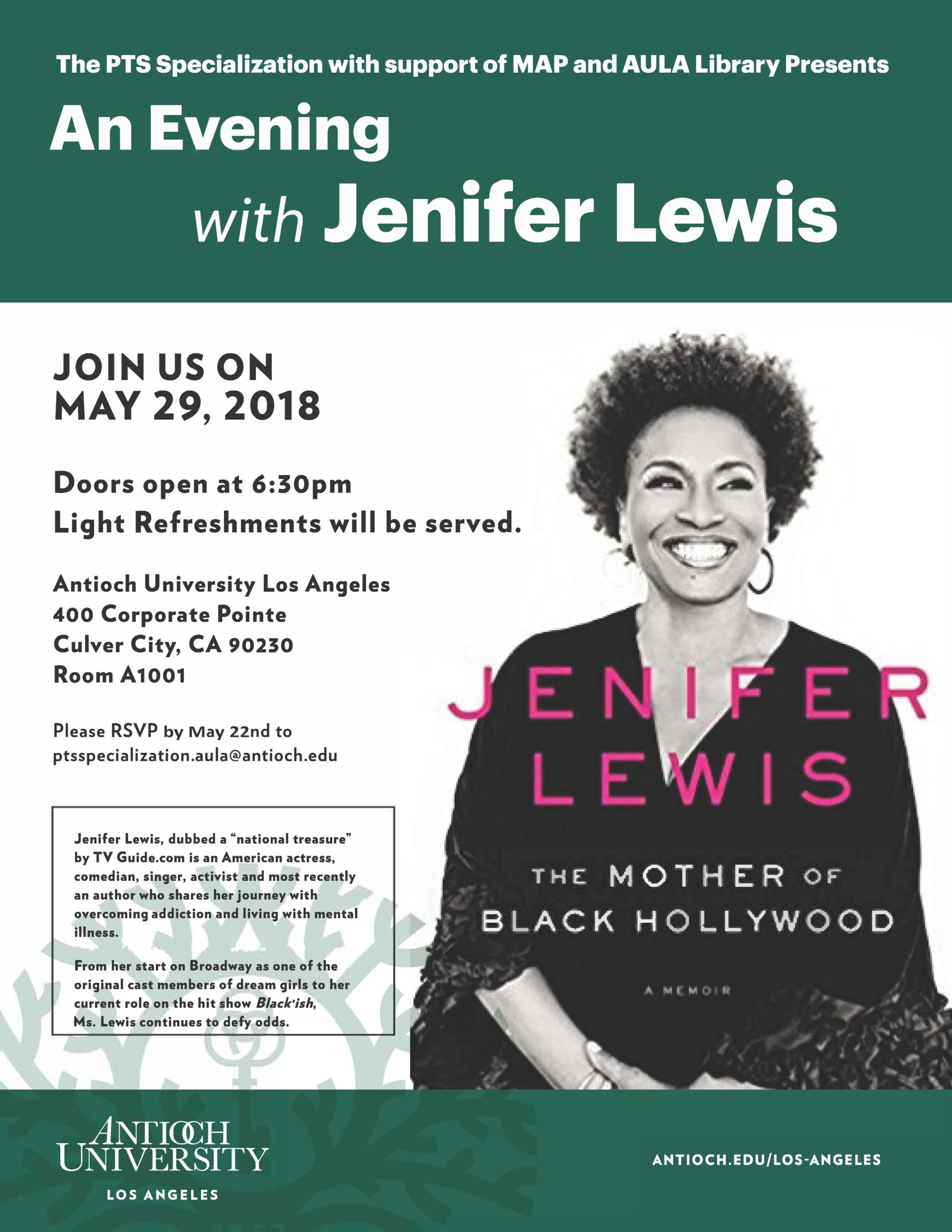 """An evening with Jenifer Lewis"" flyer"