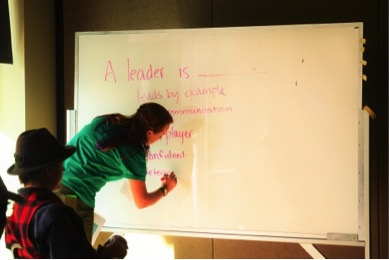 """A Leader is..."" working on a whiteboard."