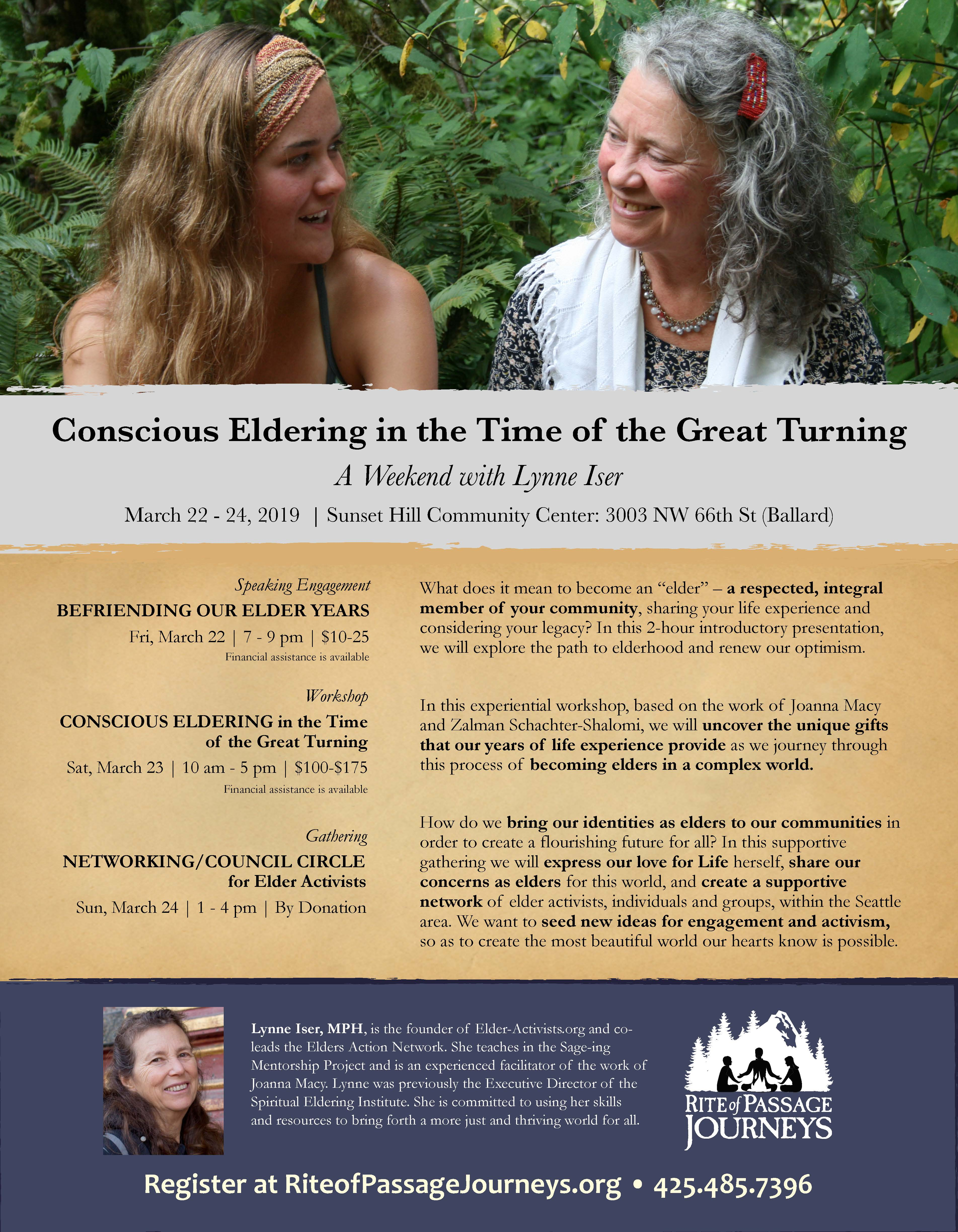 Poster for Conscious Eldering in the Time of the Great Turning. Photo of older and younger women sitting together outside.