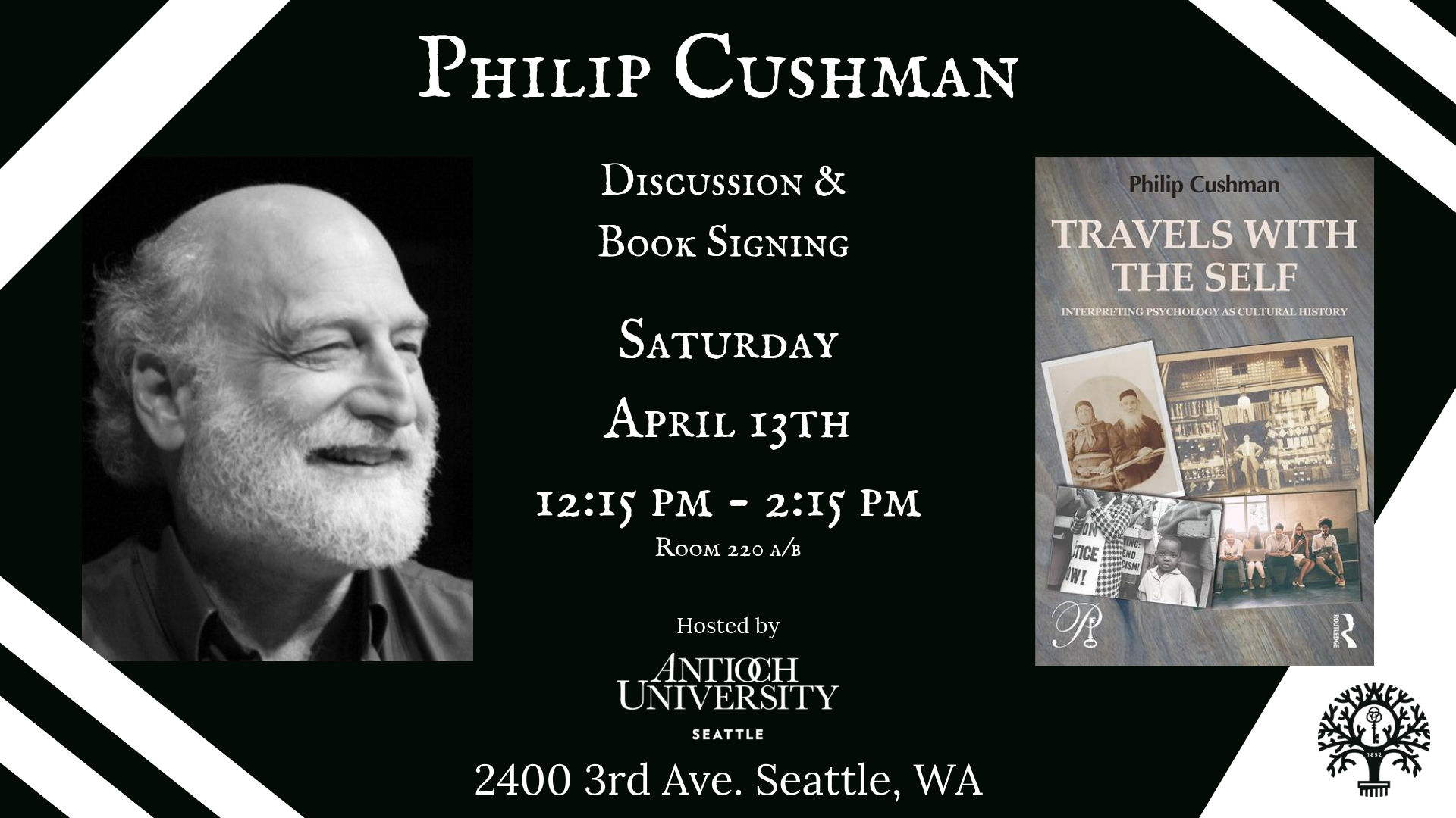 Philip Cushman Infographic about his book discussion and signing.