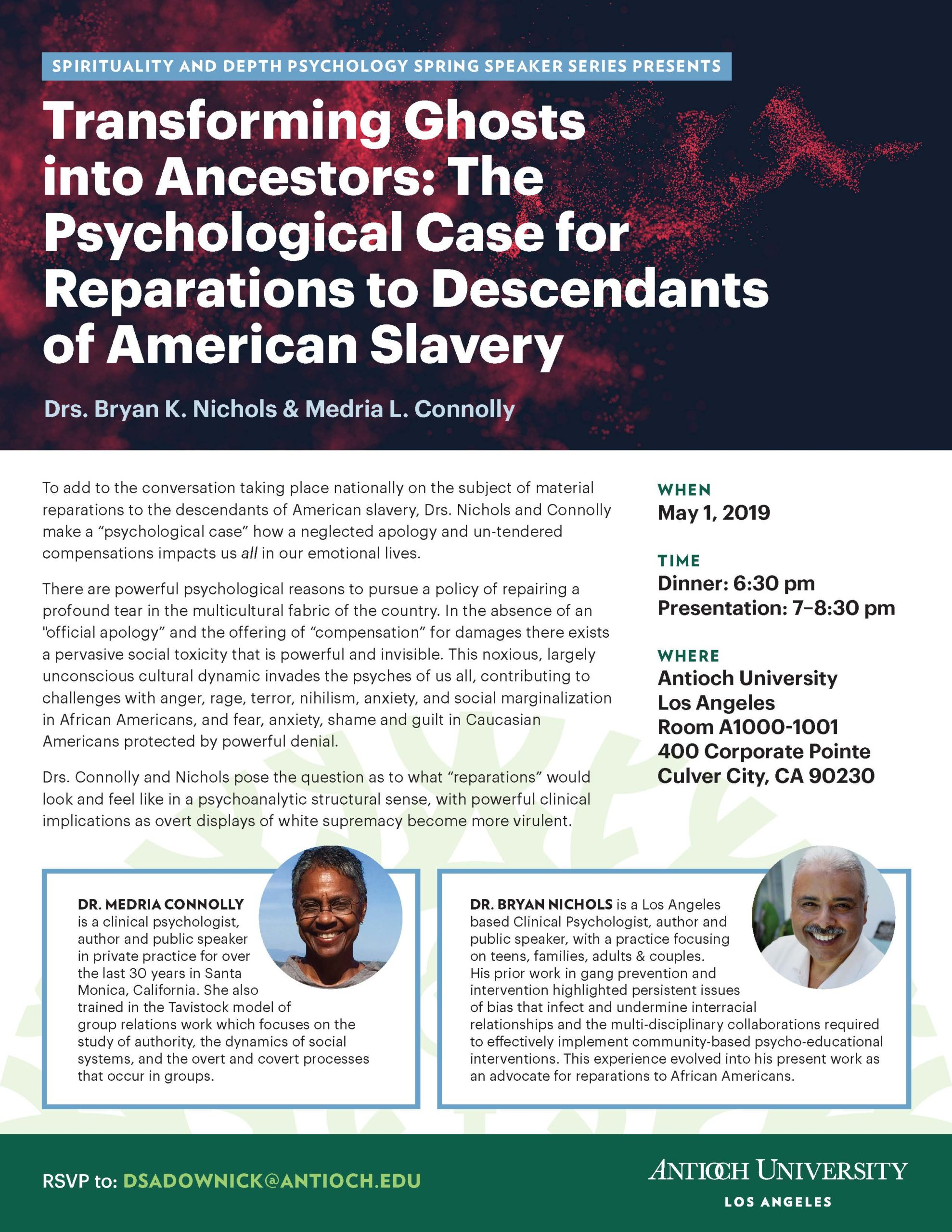 Flier for Transforming Ghosts into Ancestors: The Psychological Case for Prearations to Descendants of American Slavery