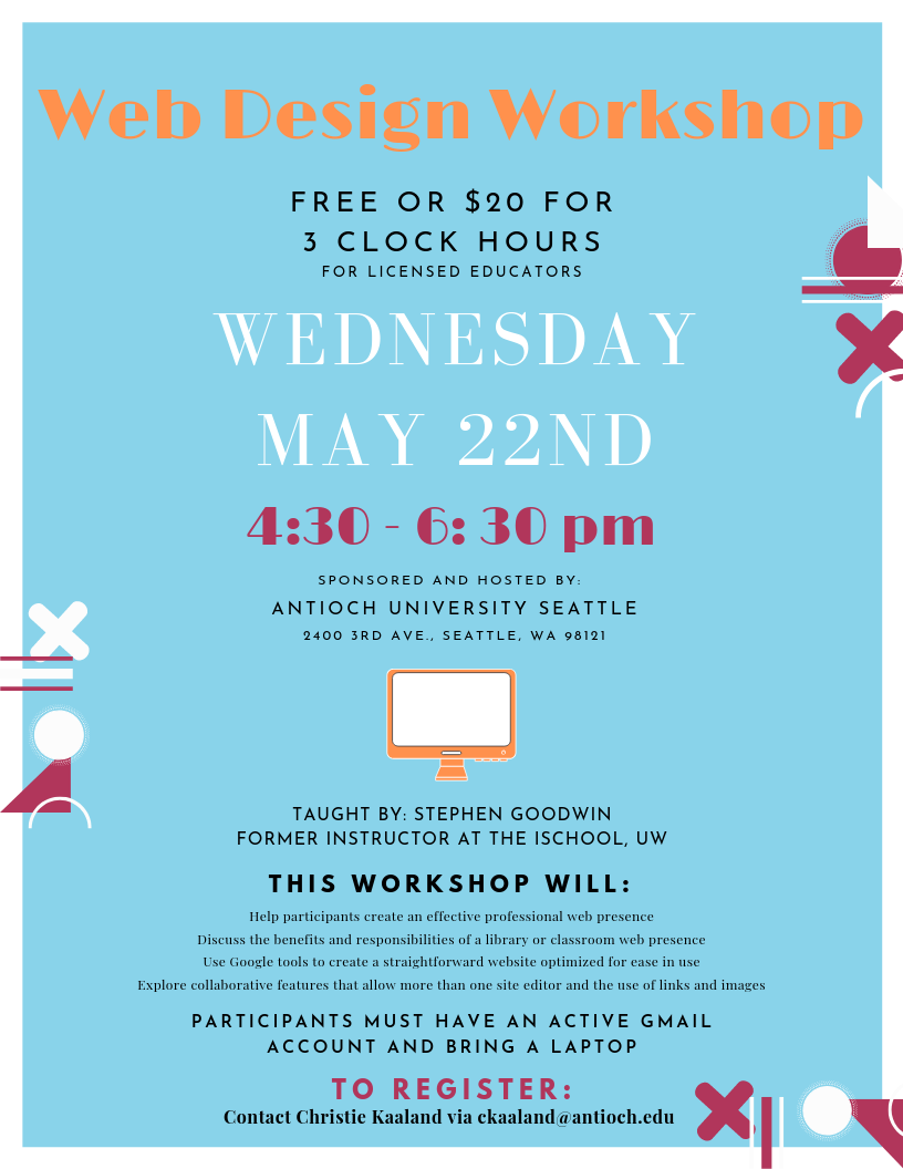 Flier for the We Design Workshop to be held May 22nd.